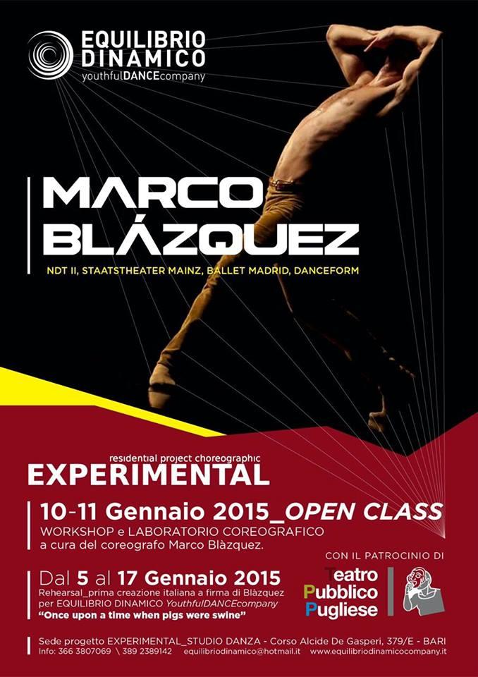 Marco Blàzquez: tra workshop e reharsal.